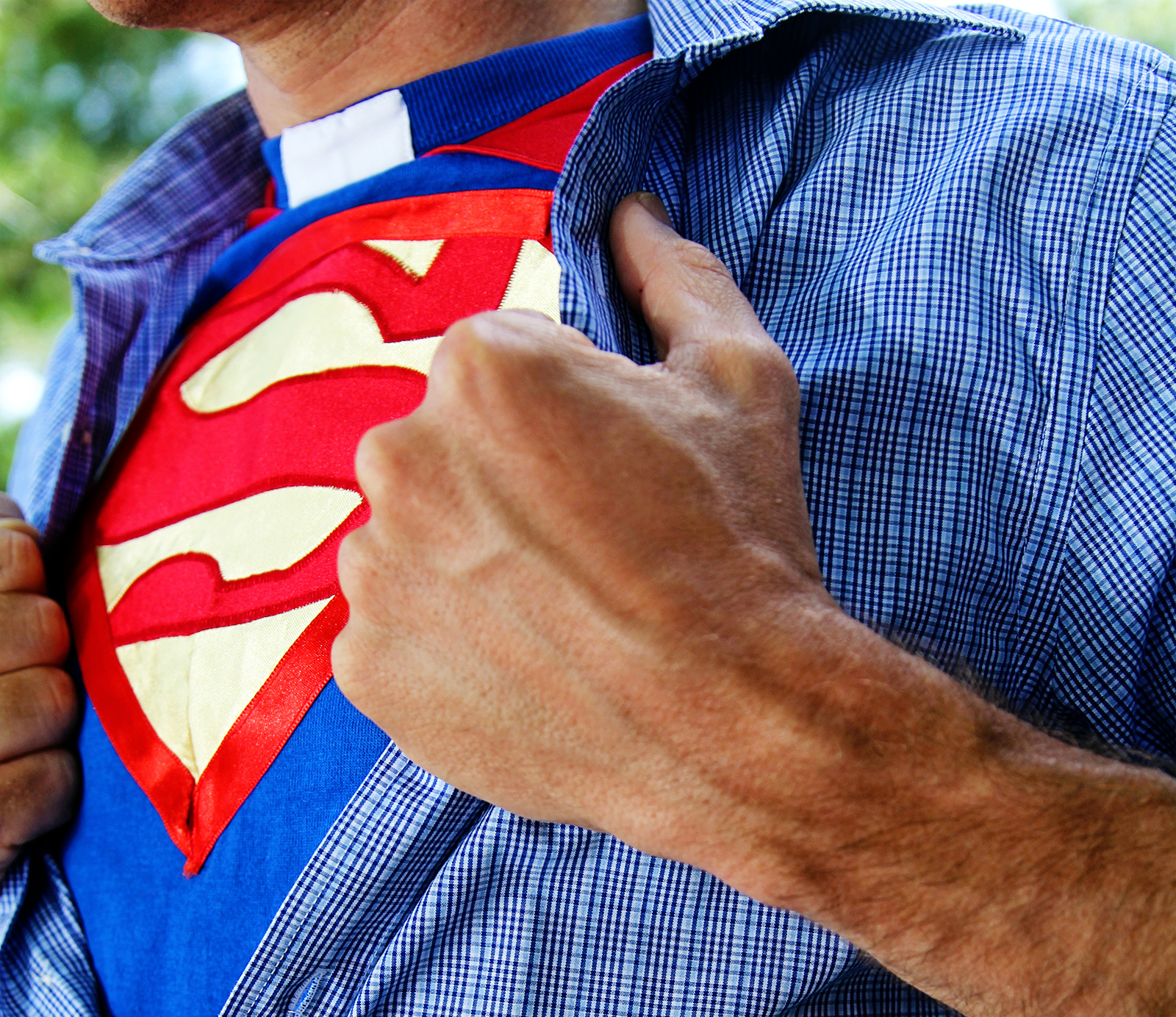 I saw a stock photo with superman and remembered someone had given me a superman shirt-- with clerical collar!